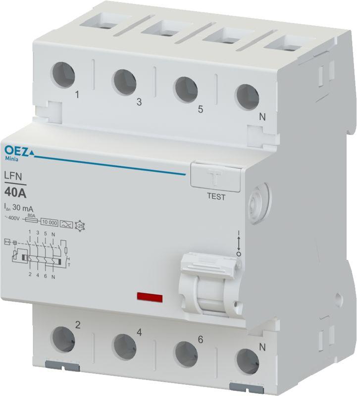 OEZ 42451 Proudový chránič LFN-25-4-030A In 25 A, Ue AC 230/400 V, Idn 30 mA, 4pól, Inc 10 kA, typ A