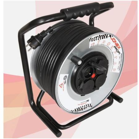 Damija 20500422 Prodlužovací buben 50m - 4 x zásuvka 230V, IP-44, H07RN-F 3x1,5 na kov. bubnu Jonex