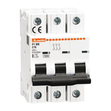 LOVATO Electric P1MB3PD16 Jistič 3-pól, D, 10kA, 16A