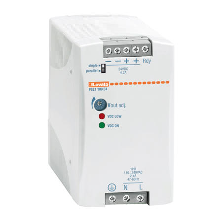 LOVATO Electric PSL110048 Spínaný napájecí zdroj, 100W/2,1A, výstup 48V DC, instal.provedení