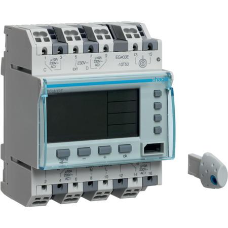 Hager EG403E Digitální spínací hodiny týdenní, 4 kanálové, 2P+2S