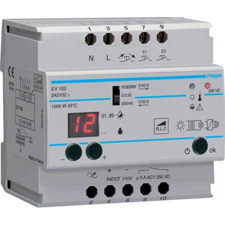 Hager EV102 Stmívač univerzální; 20 až 1000 W master/slave (1/10V) s komfortními funkcemi