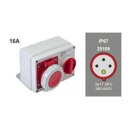 Famatel 25109 Zásuvka nástěnná blokovaná IP67/400V/16A/4P 6h - SpeedPRO