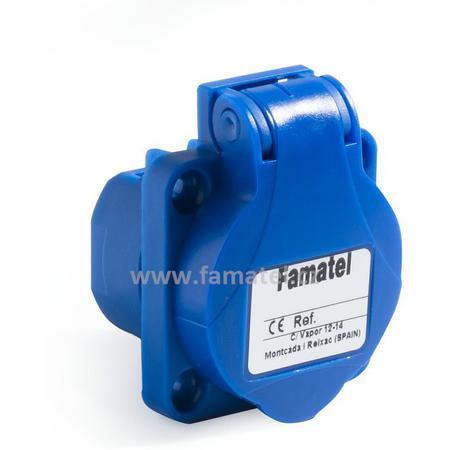 Famatel 13954F Zásuvka vestavná 13954F IP54/230V/16A s ochranným kolíkem, modrá