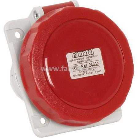 Famatel 24332 Zásuvka vestavná IP67/400V/32A/4P 6h, šikmá 10° - SpeedPRO