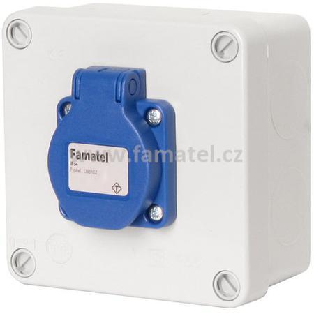 Famatel 3061 Krabice IP54 1x230V s ochr. kolíkem, 112x112x64mm, hladké boky