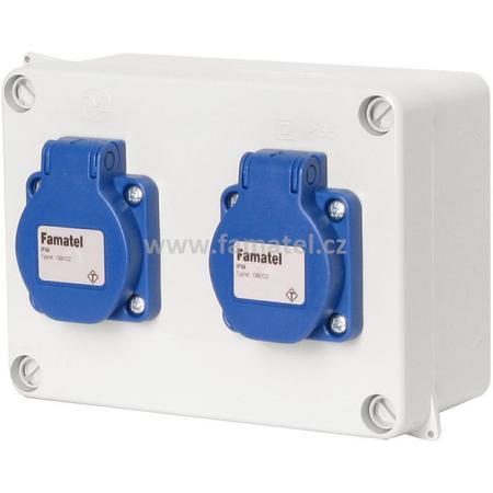 Famatel 3064 Krabice IP54 2x230V s ochr. kolíkem, 160x120x73mm, hladké boky