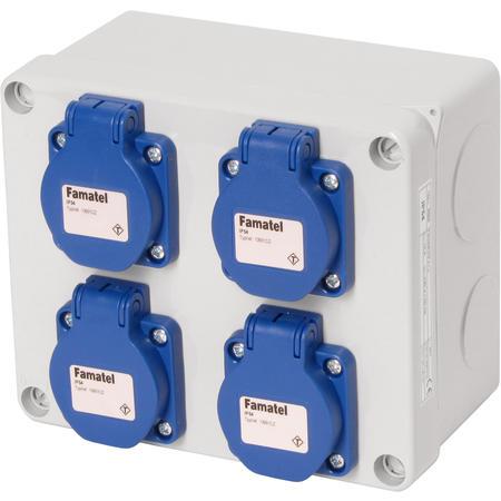 Famatel 3065 Krabice IP54 4x230V s ochr. kolíkem, 170x140x90mm, hladké boky