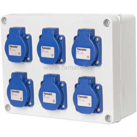 Famatel 3066 Krabice IP54 6x230V s ochr. kolíkem, 235x182x95mm, hladké boky