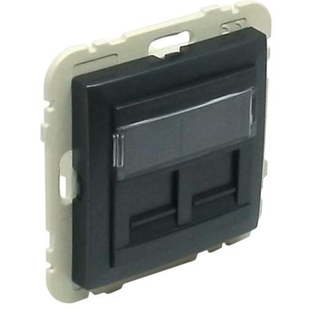 ELKO EP 90442 SIS - šedá Kryt dvojité datové zásuvky (pro RJ45 konektory)