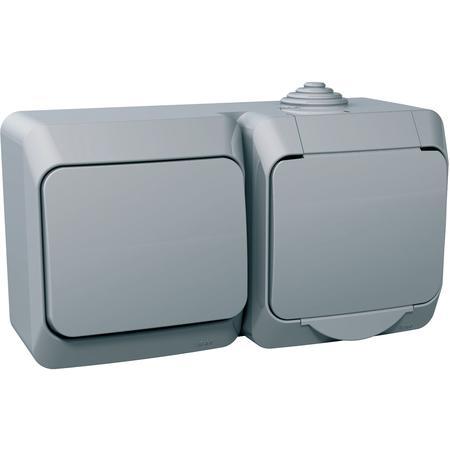 Schneider Electric WDE000600 Cedar Plus - zásuvka VDE 230V 16A+jednopólový spínač č.1 - 16A(X) - šedá
