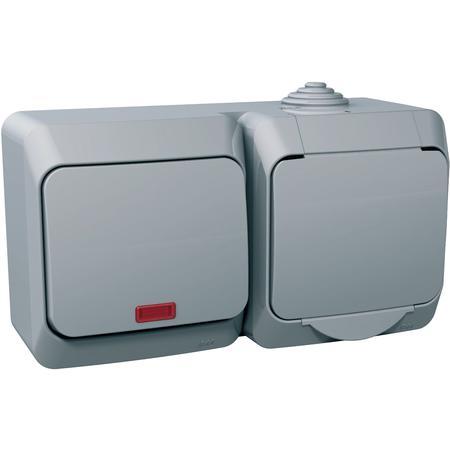 Schneider Electric WDE000601 Cedar Plus - zásuvka VDE 230V 16A+1pole sw-16A(X)-orientační kontrolka-šedá