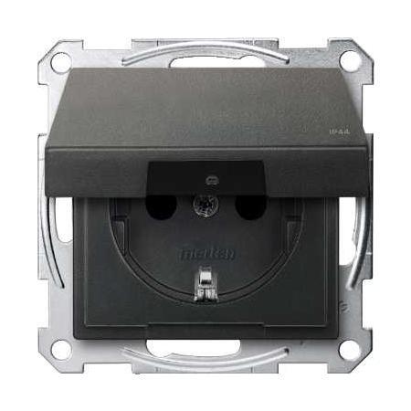 Schneider Electric MTN2314-0414 Merten - System M - zásuvka 250V/16A s bočními uzem.kont.-s víčkem IP44-antracit