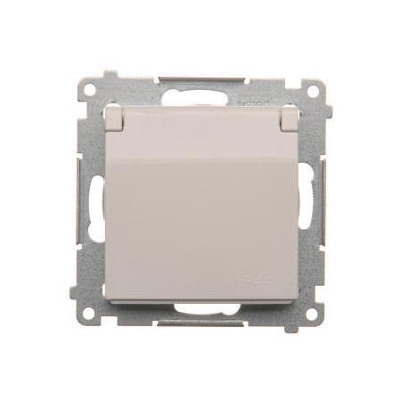 Simon DGZ1BUZ.01/11 Jednotná kolíková zásuvka, v krytí IP44 bez těsnění, s bílým víčkem pro rámečky Premium (přístroj s krytem) 16A 250V, šroubové svorky, bílá