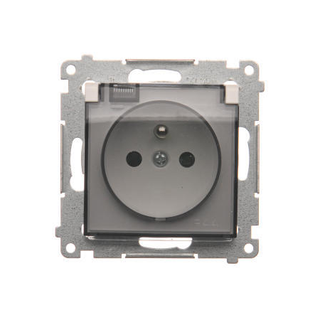 Simon DGZ1BUZ.01/11A Zásuvka jednonásobná pro verzi IP44 - bez těsnění - průhledné klapka pro rámečky Nature pro rámečky Premium (přístroj s krytem) 16A 250V, šroubové svorky, bílá