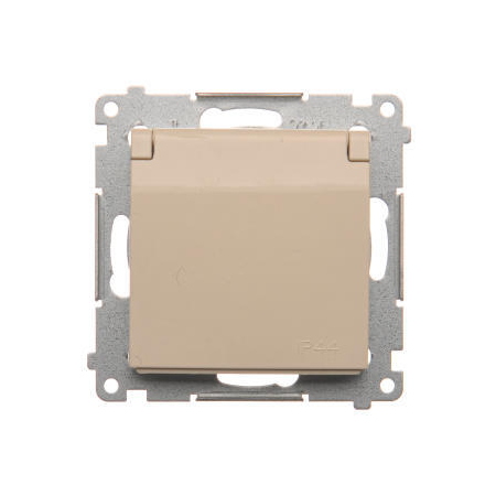 Simon DGZ1BUZ.01/41 Jednotná kolíková zásuvka, v krytí IP44 bez těsnění, s bílým víčkem pro rámečky Premium (přístroj s krytem) 16A 250V, šroubové svorky, krémová